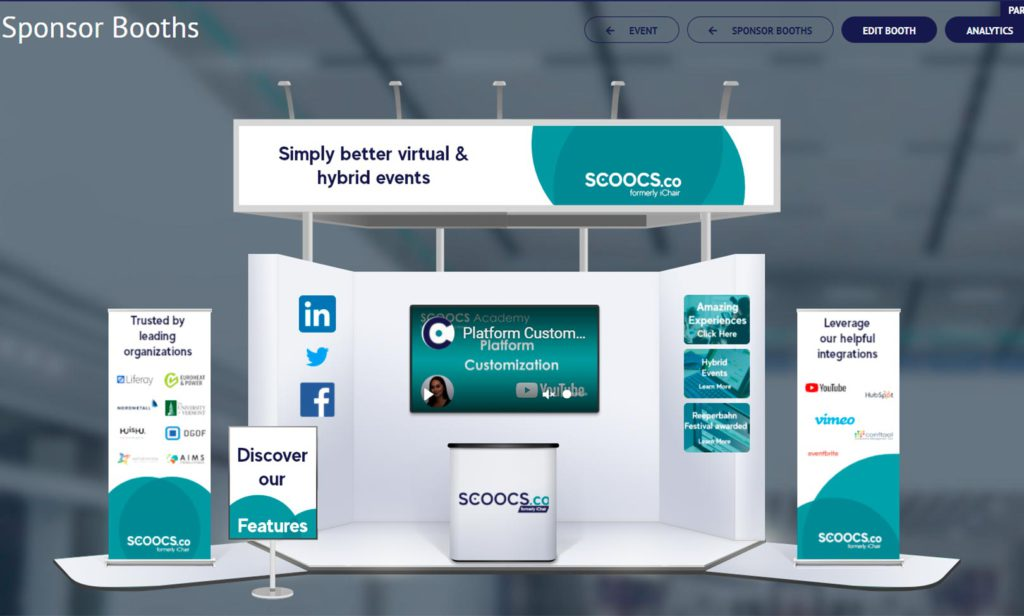 virtual and hybrid events platform features sponsor booths